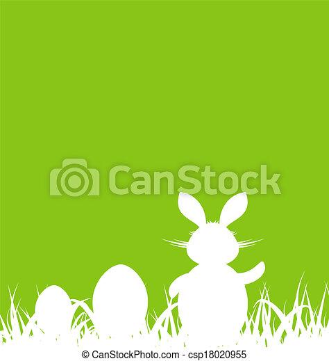 Trasfondo verde de dibujos animados con conejo y huevos de Pascua - csp18020955