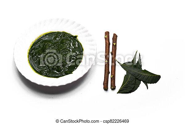 plano de fondo, indica, azadirachta, o, hojas, neem, blanco, aislado, pasta, ayurvedic, medicinal - csp82226469
