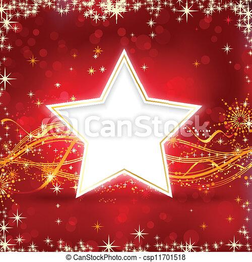 Una estrella de Navidad de oro roja - csp11701518