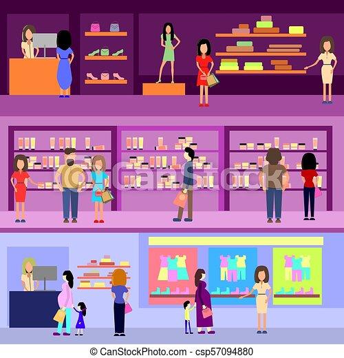 La gente compra en un concepto de centro comercial. Diseños y estandartes. Ilustración de estilo plano. - csp57094880