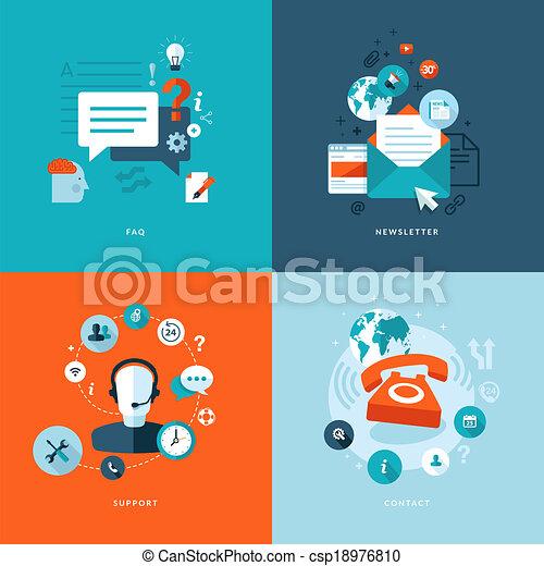 iconos planos para comunicaciones web - csp18976810