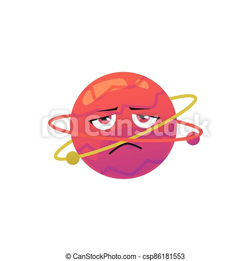 plano, infeliz, ilustración, planeta, cara, caricatura, vector, isolated., carácter - csp86181553