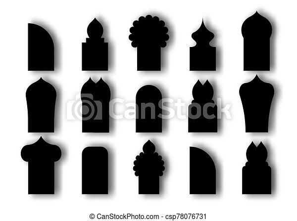 plano, vector, puertas, tradicional, plano de fondo, windows., arco, blanco, estilo, diseño, cultura árabe, islámico, negro, ilustración, caricatura, aislado, ventana, conjunto, icon. - csp78076731