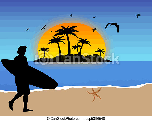 Surfer en la playa - csp5386540