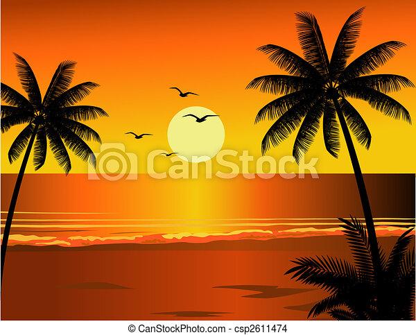 Ilustración de playa tropical - csp2611474