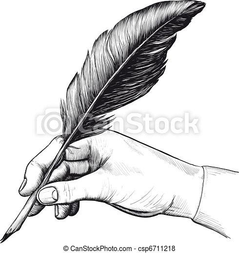 De mano con pluma - csp6711218