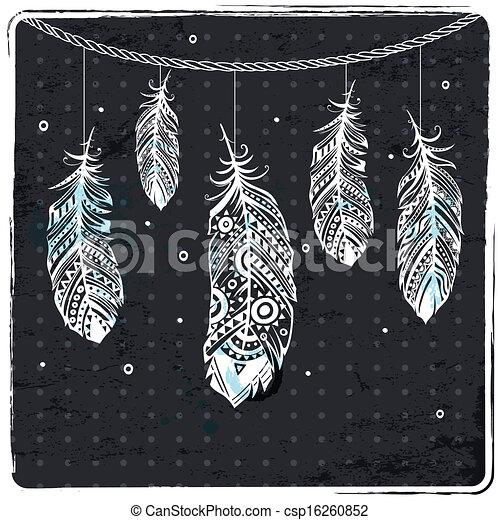 Ilustración de plumas étnicas de moda - csp16260852