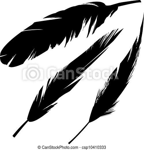 Plumas de pájaro Grunge, silueta - csp10410333