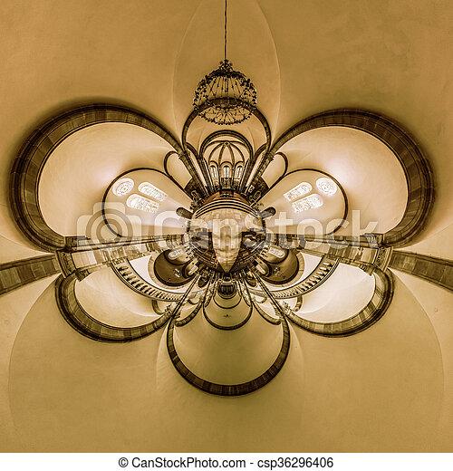 La vista del caleidoscopio del interior de la iglesia gótica, pequeño efecto planetario de tiro panorámico. - csp36296406