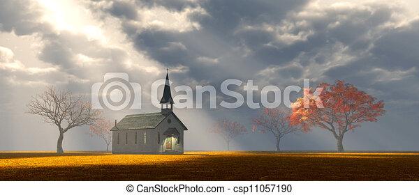Pequeña iglesia en la pradera - csp11057190