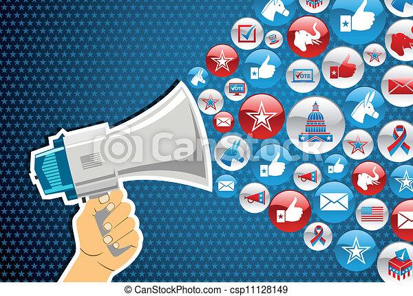 elecciones de EE.UU., promoción de mensajes políticos - csp11128149