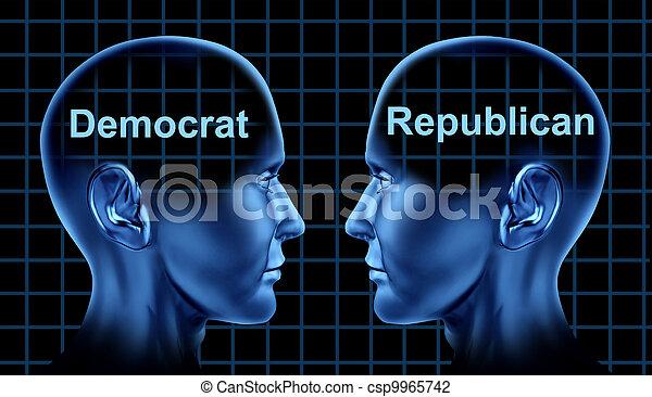 Política americana con demócratas y republicanos - csp9965742