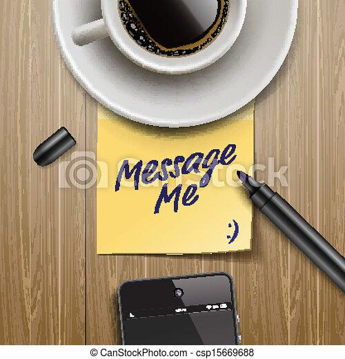 Pon una nota con marcador, taza de café y tableta - csp15669688