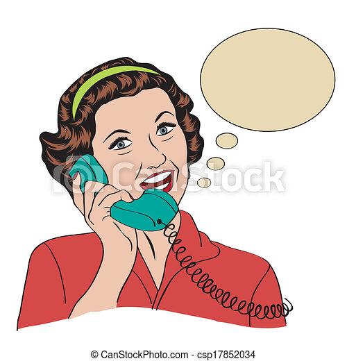 Popart comic retro mujer hablando por teléfono - csp17852034