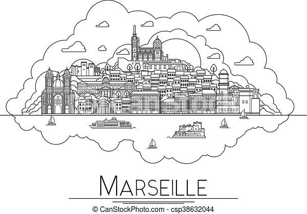 Arte Vector: Marsella, Francia, monumentos de viajes y icono de arquitectura. Los destinos turísticos más populares, calles de la ciudad, catedrales, edificios, símbolos en una ilustración - csp38632044