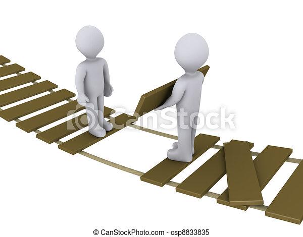 Personas en el puente ayudando a otra - csp8833835