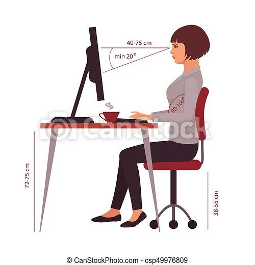 Posición correcta, postura de oficina - csp49976809