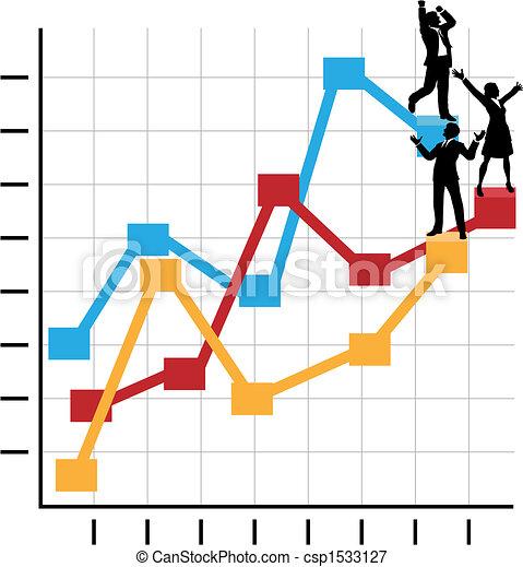 La gente de negocios celebra el éxito en la lista de crecimiento - csp1533127