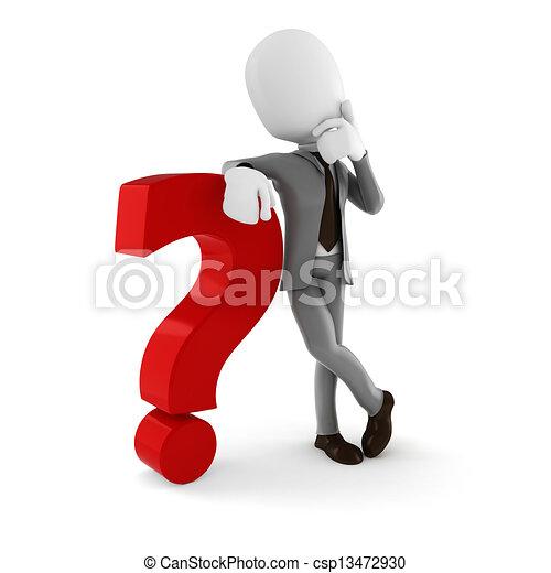 3o hombre de negocios parado cerca de un gran signo de interrogación roja, en blanco fondo - csp13472930
