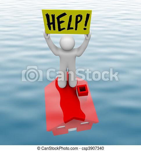 Hombre parado en casa bajo el agua - csp3907340