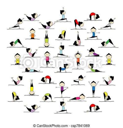 Gente practicando yoga, 25 poses para tu diseño - csp7841069