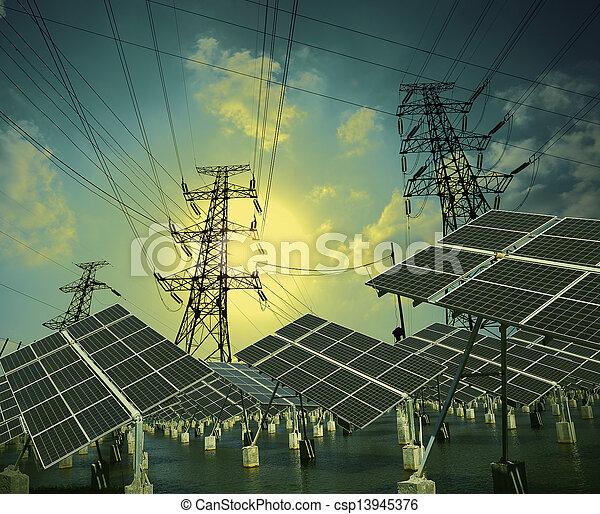 Paneles de energía solares y torre de transmisión de energía - csp13945376