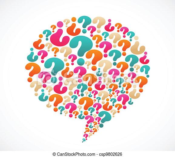 Burbuja de habla con iconos de interrogación - csp9802626