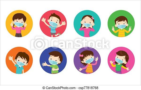 prevenir, quirúrgico, llevando, virus, máscara, niños - csp77818768