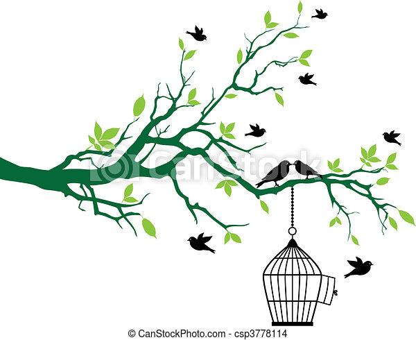Árbol de primavera con jaula de pájaros y pájaros - csp3778114