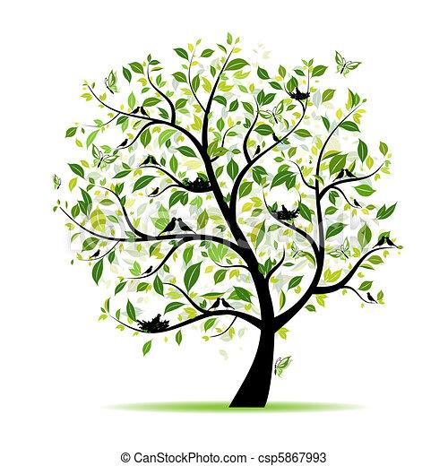 Árbol de primavera verde con aves para tu diseño - csp5867993