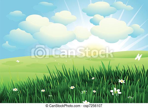 Un paisaje primaveral - csp7256107