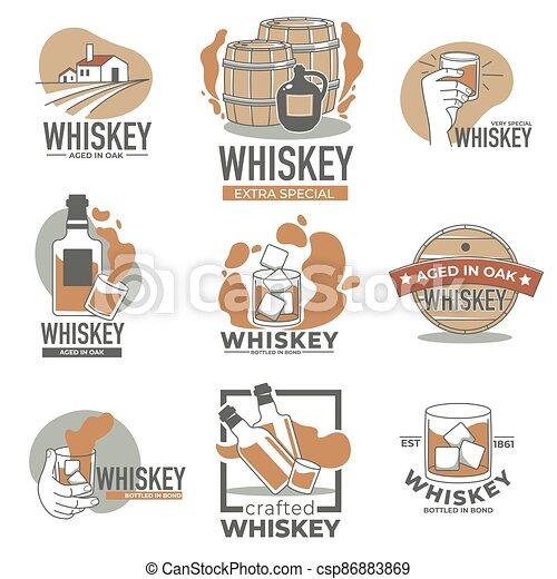 producción, whisky, etiqueta, alcohol, viejo, roble - csp86883869