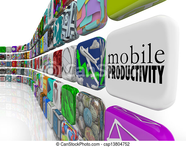 La productividad móvil aplica el software que funciona remotamente - csp13804752