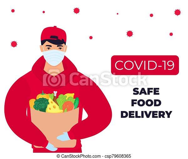 protector, coronavirus, seguro, alimento, delivery., epidemic., traído, covid-19., mensajero, máscara - csp79608365