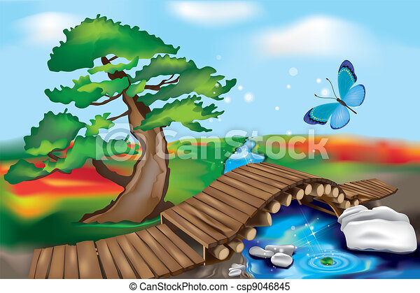 Puente de madera en paisaje zen - csp9046845