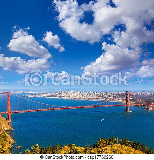 El puente Golden Gate de San Francisco Marin Headlands California - csp17760260