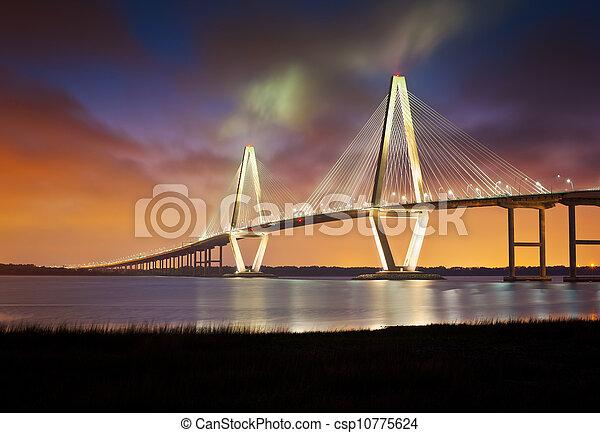 Arthur Ravennel jr Cooper River suspensión puente charleston SC desde Patriots Point Carolina del Sur - csp10775624