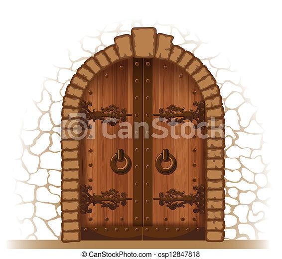 Puerta de madera - csp12847818
