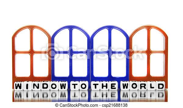 Ventana al mundo con puertas - csp21688138