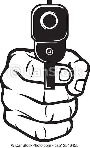 Mano con pistola (pistol), punta de pistola - csp12546455