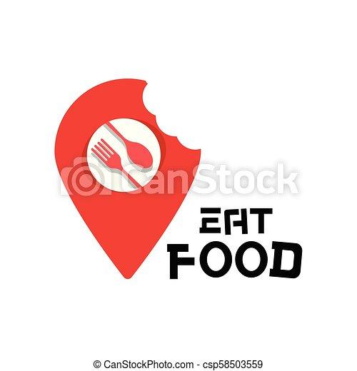 Coma comida logotipo de comida, punto de vista vectorial de fondo - csp58503559