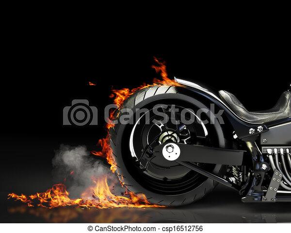 Quemadura de motocicleta a medida - csp16512756