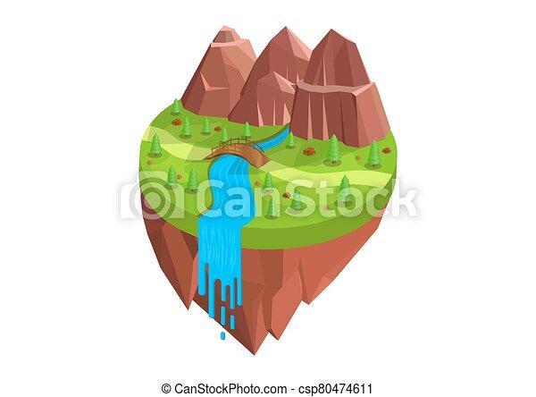 ríos, isométrico, natural, montañas - csp80474611