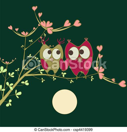 Mochuelos enamorados en rama - csp4419399