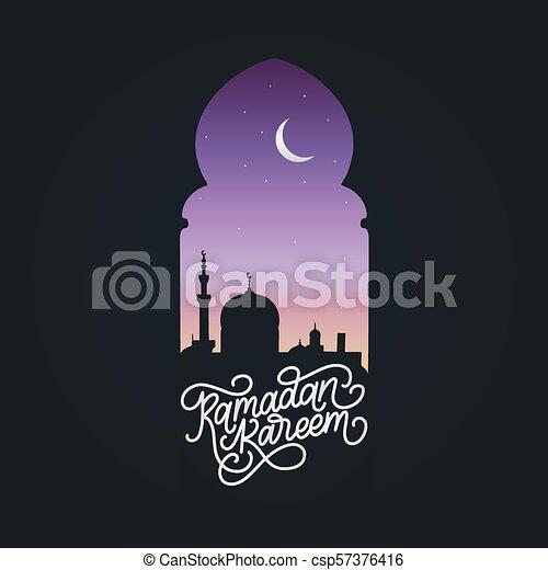 Ramadan kareem calligrafia. Ilustración de vectores de símbolos navideños islámicos. Vista nocturna de la mezquita desde Arch. - csp57376416
