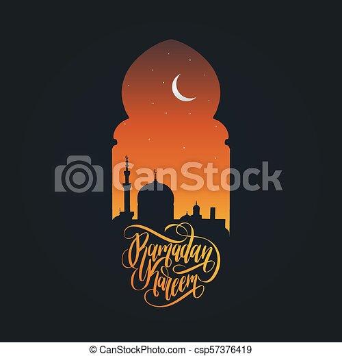 Ramadan kareem calligrafia. Ilustración de vectores de símbolos navideños islámicos. Vista nocturna de la mezquita desde Arch. - csp57376419