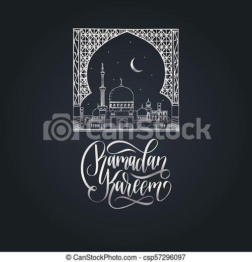 Ramadan kareem calligrafia. Ilustración de vectores de símbolos navideños islámicos. Vista nocturna de la mezquita desde Arch. - csp57296097