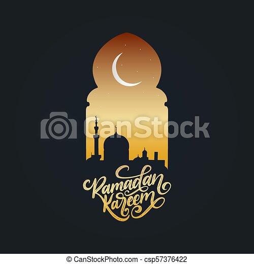 Ramadan kareem calligrafia. Ilustración de vectores de símbolos navideños islámicos. Vista nocturna de la mezquita desde Arch. - csp57376422