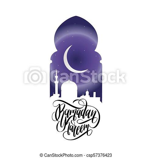 Ramadan kareem calligrafia. Ilustración de vectores de símbolos navideños islámicos. Vista nocturna de la mezquita desde Arch. - csp57376423