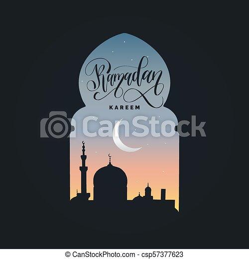 Ramadan kareem calligrafia. Ilustración de vectores de símbolos navideños islámicos. Vista nocturna de la mezquita desde Arch. - csp57377623